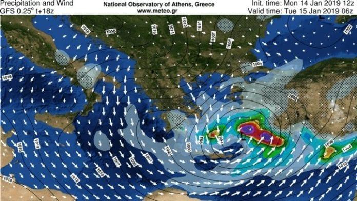 Καιρός Meteo έκτακτο δελτίο 15 Ιανουαρίου - Άνεμοι 11 μποφόρ