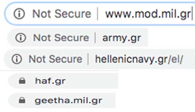 Κενό ασφαλείας στα sites υπουργείου Εθνικής Άμυνας ΓΕΣ & ΓΕΝ